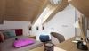 Vizualizace interiéru podkrovní dřevostavby Vermont 5S