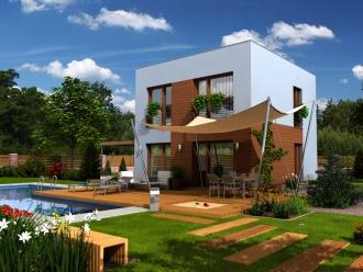 Projekt podkrovní dřevostavby na klíč - bungalov Skelet C